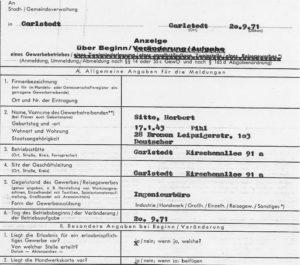 1971 - Gewerbeanmeldung